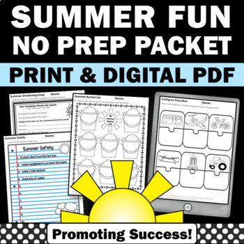 Summer School Fun Packet of Writing Worksheets and Activities