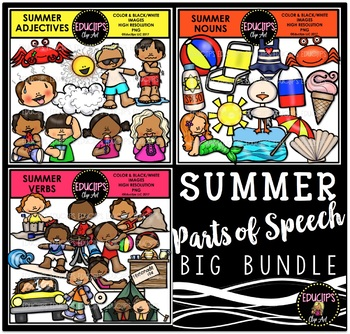 Summer - Parts Of Speech Clip Art Big Bundle {Educlips Clipart}