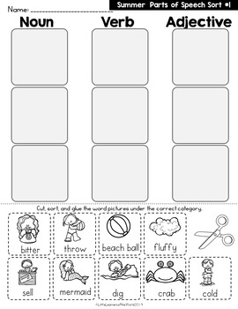 Summer Parts Of Speech Picture Word Sort and Writing Printables