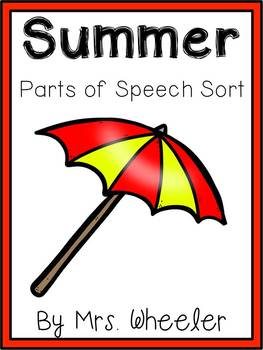 First Grade Language: Summer Parts of Speech Sort
