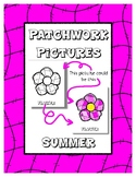Summer - Patchwork Pictures - 13 Picture with Word Coloring Pages