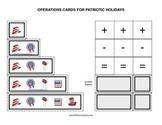 Summer Patriotic Symbols operations cards prek primary math addition subtraction