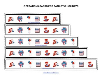 Summer Patriotic Symbols operations cards prek primary math addition subtraction