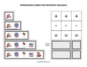 Summer Patriotic Symbols operations cards prek primary mat