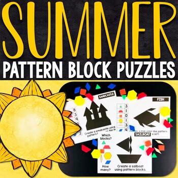 Summer Pattern Block Puzzles   Summer Pattern Block Challenge Cards