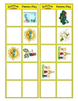 Summer Pattern Play Mat and Card Game - Common Core Kindergarten Math