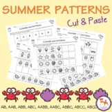 Summer Patterns Worksheets. Cut and paste. AB, AAB, ABB, ABC, AABB, AABC, ABCC..