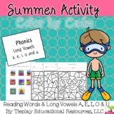 Summer Phonics Color by Code Long Vowel Sounds Worksheet Packet No Prep