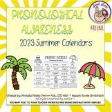 Phonological Awareness Summer Calendars ~ 2016 ~ {FREEBIE}
