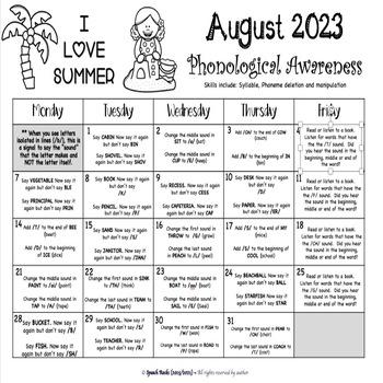 Phonological Awareness Summer Calendars ~ 2018 ~ {FREEBIE}
