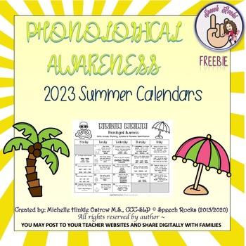 Phonological Awareness Summer Calendars ~ 2019 ~ {FREEBIE}