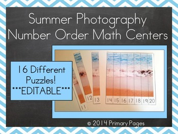 *EDITABLE* Summer Photography Number Order Math Center