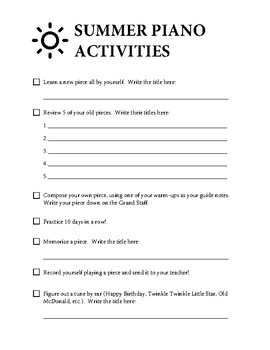 Summer Piano Activities Handout