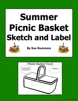 Summer Picnic Basket Food Sketch and Label Activity - ENGLISH