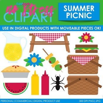 Summer Picnic Clip Art (Digital Use Ok!)