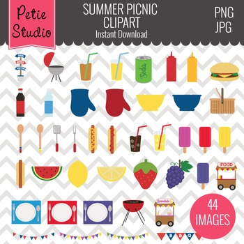 Summer Picnic Clipart, Summer Cookout Clipart, Food Clipart - Objects100
