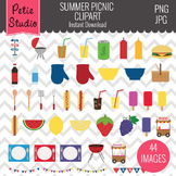 Summer Picnic Clipart, Summer Cookout Clipart, Food Clipar