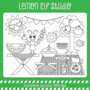 Summer Picnic-Digital Stamp (LES.DS38)
