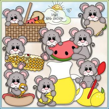 Summer Picnic Mice Clip Art - Mouse Clip Art - CU Clip Art & B&W