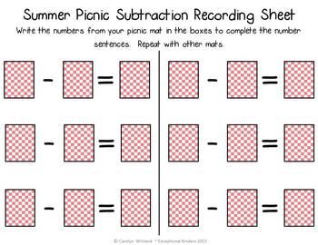 Summer Picnic Subtraction Mats