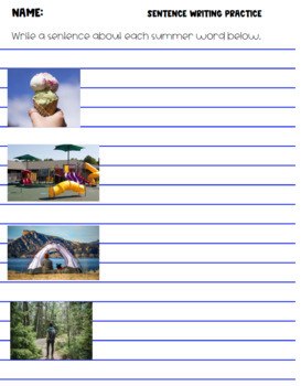 Summer Picture Cards (ELL, ESL, Vocabulary)