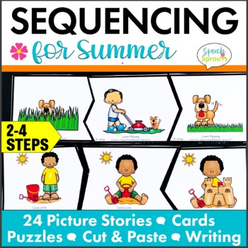 Summer Sequencing Activities with Picture Stories, Retell and Writing