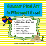 Summer Pixel Art in Microsoft Excel or Google Sheets | Distance Learning