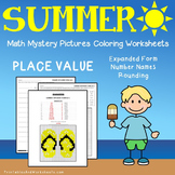 Summer Place Value Coloring Worksheets