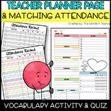 Teacher Planner Page - Weekly Planner