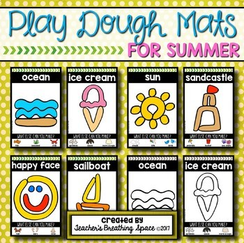 Summer Play Dough Mats --- Six Picture Mats and Ten Jellyfish Counting Mats 1-10