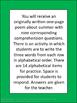Summer Poetry Literacy Poem Packet