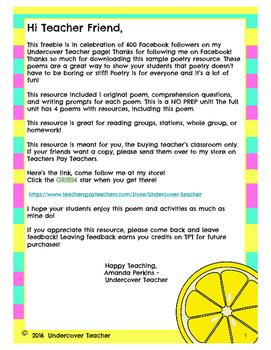 Summer Poems Poetry Unit (FREEBIE)