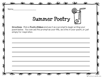 Summer Poetry: 66 Poetry Prompt Ribbons