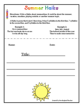 Summer Poetry Pack: Haiku, Diamante, Acrostic, Cinquain (Grades 3-6)