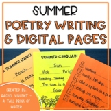 Summer Poetry Writing Pages Print or Google Classroom Dist