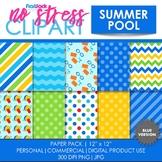 Summer Pool (Blue) Digital Papers