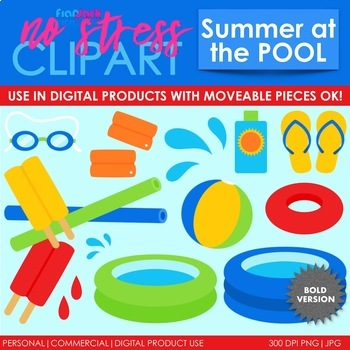 Summer Pool Clip Art Bold Set (Digital Use Ok!)
