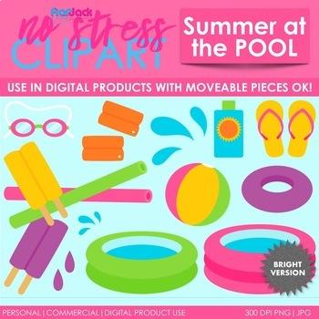 Summer Pool Clip Art Bright Set (Digital Use Ok!)