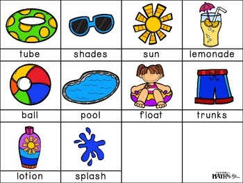 Summer Pool Party ABC Order Cut and Paste FREEBIE: Level 2