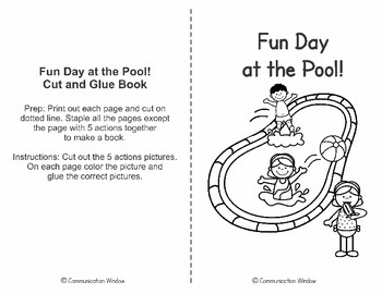 Summer Pool Party Cut and Glue Interactive Book - Free Sampler!