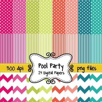 Summer Pool Party Digital Background Papers in Chevron, Polka Dots, and Stripes
