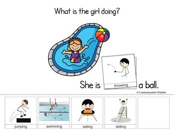 Summer Pool Party Interactive Book Pack! Verbs, Pronouns and WH Questions