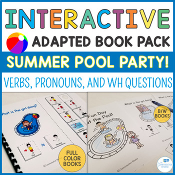 Summer Pool Party Interactive Book Pack! Verbs, Pronouns a