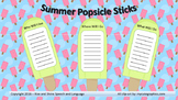 Summer Popsicle Sticks for Speech