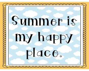 Summer Poster, Class Decor, Holiday Sign, Bulletin Board
