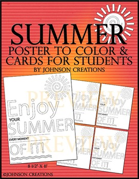 Summer Poster to Color & Cards for Students