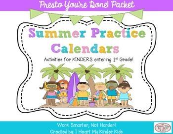 Summer Practice Calendars for Kindergarten