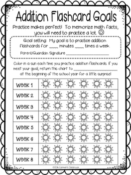 Summer Practice Fact Fluency with Goal Sheets Addition and Subtraction Facts