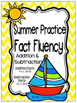 Summer Practice Fact Fluency with Goal Sheets Addition and