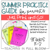 Summer Practice Guide For Parents | Print and Go Summer Packet for K-3 Students